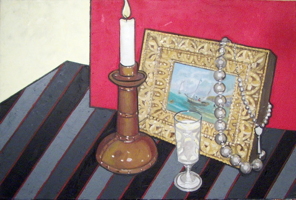 Painting with Silver Beads, Candlestick and a Shot of El Tesoro Reposado Tequila