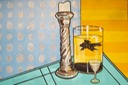 Mercury Glass Candlestick, Mary the Fish and a Glass of Aquavit